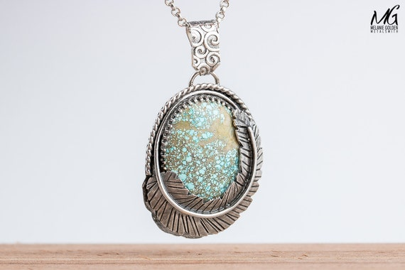 Number 8 Spiderweb Turquoise Gemstone Necklace in Sterling Silver with Feather and Rope border
