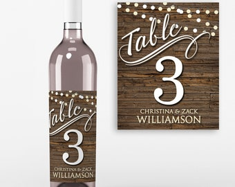 Table Number Wine Labels - Wedding Wine Favors -Table No Wine Labels - Wedding Table Decoration - Personalized  Wine Labels - Set of 4