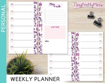 Printable Personal Weekly Planner Week on 1 page Perpetual Undated Inserts for Filofax Personal, Kikki K Medium - PDF - Leopard Design