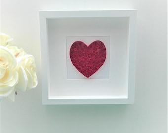 Framed Art/ Quilled Paper Heart