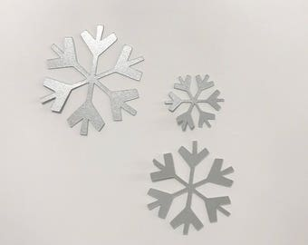 SALE - Set of 6 metallic silver card stock snowflakes set of 9 great for cardmaking