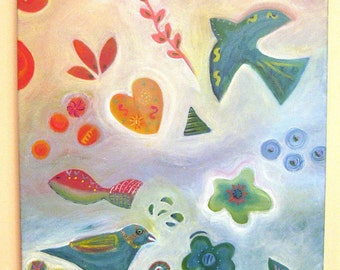 Painting,  Birds, Dove, Fish, Heart, Nature, Original Acrylic on Wrapped Canvas
