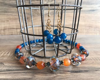 Handmade lampwork beads, Blue faceted jade, Fire agate, Swarovski crystals N255