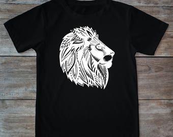 Lion shirt, animal shirt, lion head, lion tee, zen style shirt, lion print shirt, henna print shirt, hipster gift, gift for tattoo lovers