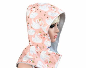 Scoodie - Hooded Scarf- Swans