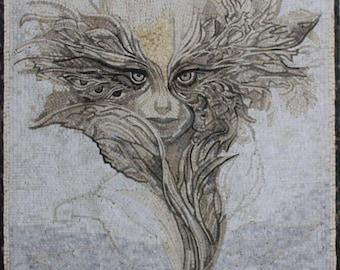 Artistic Beautiful Masterpiece Portrait Abstract Art Marble Mosaic FG1118