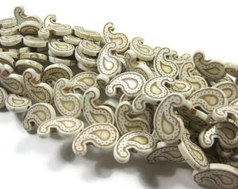21 mm Creamy White Howlite Paisley Beads Set of 10