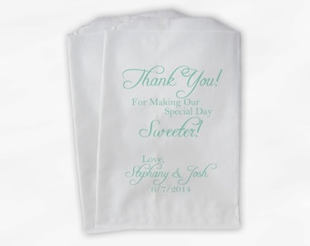 Thank You for Making Our Day Sweeter Wedding Candy Buffet Treat Bags - Personalized Favor Bags- Custom Paper Bags (0072)