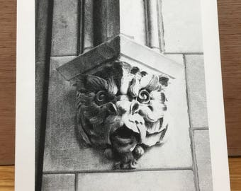 Groestque Cat Face at the University of Chicago,  Black and white note card. Free Shipping
