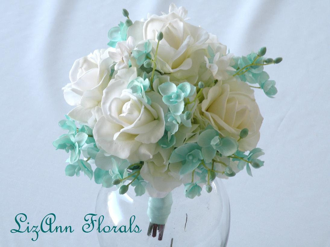 Silk Wedding Bouquet AQUA Orchids White Real Touch ROSE