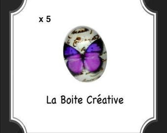 5 CABOCHONS oval Butterfly purple pink and black in glass 18 x 13 mm