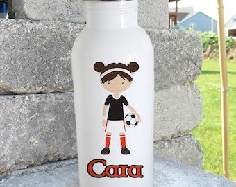 Soccer girl/ bottle/stainless steel water bottle/ straw top/custom/personalized/kids bottle