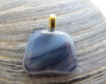 0089 - Blue Fused Glass Pendant