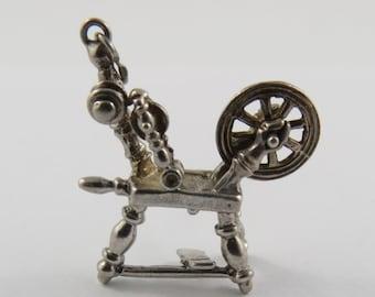 Spinning Wheel Mechanical Sterling Silver Vintage Charm For Bracelet