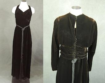 vintage 30s Velvet Dress - Brown Velvet Racerback Dress and Jacket 1930s Velvet Maxi Dress Evening Gown Sz S