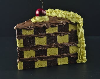 Jumbo Fake Cake Slice Faux Decorative Cake Fake Food Prop Display Checkerboard Cake