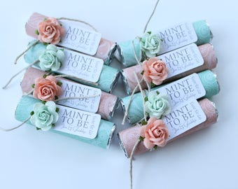 Mint wedding, mint to be favors with personalized tag, wedding mints, mint wedding, mint wedding favors, edible favors, candy favors