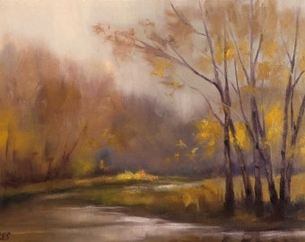 Tonalist Landscape Painting Birch Trees Original OIL Painting by CES -  Trees Forest Tonalism Impressionist Raining Creek Water ART 12x9""
