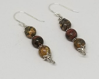 Jasper and Sterling Silver Drop Earrings