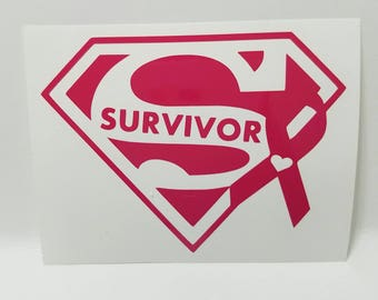 Breast Cancer Super Survivor Vinyl Decal