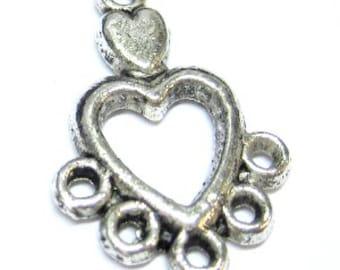 15 pieces heart Tibetan Silver Style Alloy Connector Joiner - A0440