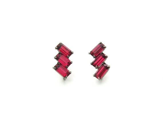 Vintage Art Deco Ruby Red Baguette Rhinestone Sterling Silver Earrings