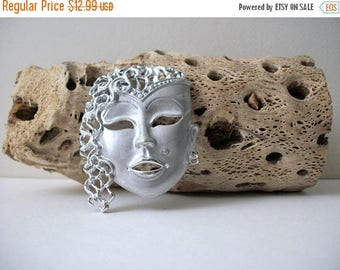 ON SALE Vintage Silver Tone Metal Goddess Pin 121016