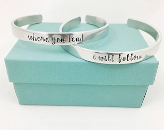 Where You Lead I Will Follow - Gilmore Girls Cuff Bracelet Set