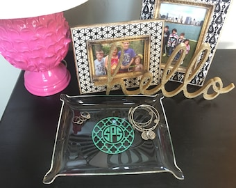 Personalized Acrylic Jewelry Tray - Large - monogrammed lucite tray - clear plastic accessory tray - Crush Goods