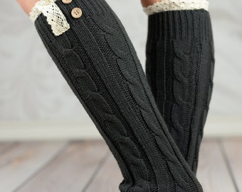 Braided Leg Warmers With Lace Rim - White, Charcoal,Black