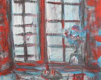 Vintage European oil painting interior scene