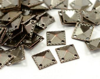 100 Pcs. Antique Copper 9x9 mm Square 4 Hole Findings
