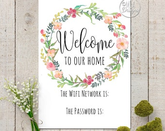 Wifi Password Art Print  - Welcome to My Home Wifi Print, Home Decor Poster Floral Art Print, Instant Download Print, 5 x 7 Wifi Print