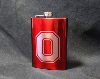 Flask - Ohio State Block O College Football Inspired 8oz Red Metallic Stainless Steel Flask with Laser Engraving Officially Licensed