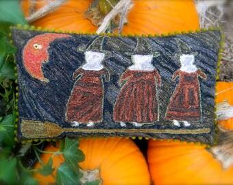 Night Flight - primitive punch needle embroidery PATTERN - from ©Notforgotten Farm