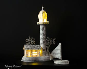 Lighthouse - Diorama - Book Paper Diorama with light - Paper Art - Paper Miniature