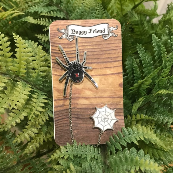 My pet bug- black widow spider chain pin set. Lapel collar pins