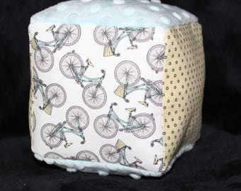 White Bicycles Fabric Block Rattle