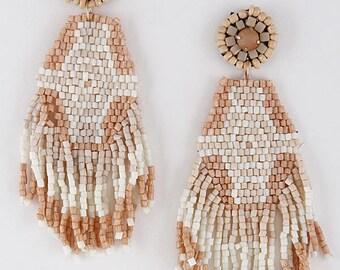 Boho Beaded Fringe Statement Earrings