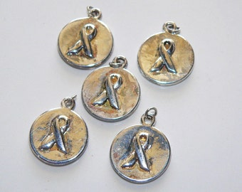 Cancer Awareness Ribbon Charm Pendant