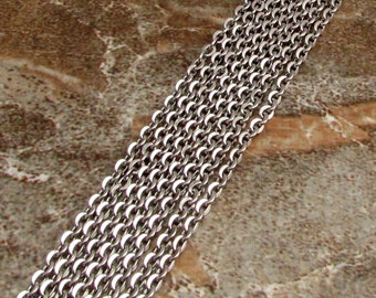 Hammered Flat Wire Cable Chain, Solid Stainless Steel, 4.75x4 mm Links, 3 Feet, SS15