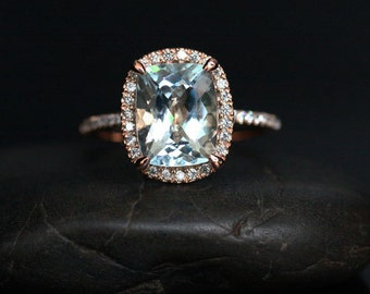 Flawless Aquamarine Diamond Halo Ring in 14k Rose Gold with Aquamarine Cushion 10x8mm and Diamonds