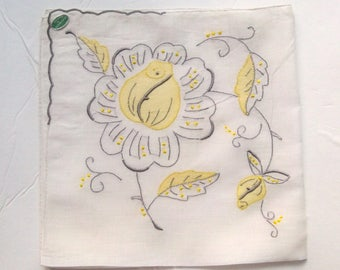 Vintage Handkerchief - Yellow and Gray Madeira Floral Embroidery - MWT Unused
