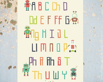 Welsh  Alphabet Print, Robot Welsh Language Alphabet Print, Yr Wyddor comes in an A4 or A3 option.