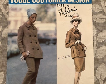 Vogue Couturier Design #1428 by Fabiani of Italy - 1960s Jacket Skirt and Pants Suit Pattern
