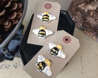 Handmade ceramic bee buttons