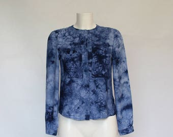 Vintage • Blouse • Shirt • Women's Blue Blouse • Women's Button Up Blouse • Blue Long Sleeve Blouse • Women's Shirt • Hipster • Mod