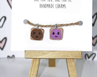 POLYMER CLAY CHARMS-Friendship Charms-Peanut Butter and Jelly