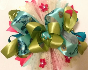 elephant hair bow, summer hair accessories, elephant, blue elephant, Birthday bow, alligator clip, gifts for girls, little girls bows