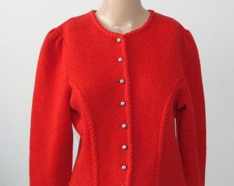 Vintage 90s Wool cropped jacket Red wool jacket Cropped blazer Red knit blazer Red short jacket Warm blazer Red cropped jacket